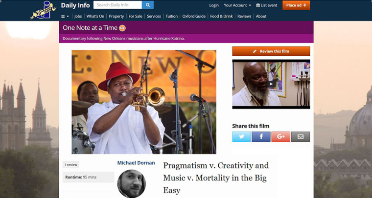'Pragmatism v. Creativity and Music v. Mortality in the Big Easy' : ONAAT FILM REVIEW